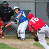 Seacoast's batter #2 Matt Maggoire swings and connets on a fast ball thrown by Roger Allen's #10 Abby Gomer during the Cal Ripken 10-Year-Old All-Stars baseball game between Seacoast and  Roger Allen at the Districk VII Tournament @ Roger Allen Park on Tuesday 6-23-2015, Rochester, NH.  Matt Parker Photos