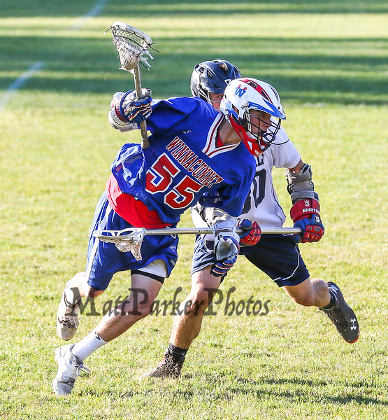 Winnacunnet's #55 Morgan McGirl works his way to the center of the field with General's #30 Terry Zervos defending during Saturday's NHIAA DIV II Boys Lacrosse Quarter Final game between Winnacunnet and John Stark High Schools on 6-6-2015 @ John Stark, Weare NH.  WHS 13, JS 11.  Matt Parker Photos
