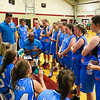Raiders Coach Andrew Brady talks with his players during a time-out at the Marshwood Girls Basketball vs Dublin Raiders exhibition girls basketball game during the week long Maine-Ireland Basketball Tour on Thursday @ Eliot Baptist Church, Eliot ME on 7-30-2015.  Matt Parker Photos