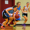Marshwood's #24 Jordyn Beers fouls  Raiders #8 Alannah Malone as she dribbles the ball up the court  during the Marshwood Girls Basketball vs Dublin Raiders exhibition girls basketball game during the week long Maine-Ireland Basketball Tour on Thursday @ Eliot Baptist Church, Eliot ME on 7-30-2015.  Matt Parker Photos