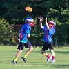 #9 Jake Giacalone looks to make a catch with #15 Own Parker running defense at the 2015 Winnacunnet Warriors Veer Camp on Sunday 8-2-2015 @ Winnacunnet High School.  Matt Parker Photos