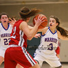 Winnacunnet's #3 Kelly Arsenault with #22 Emily Britton runs the full-court press against Pinkerton's #12 Melissa Martel creating a turnover during Monday's Div I Girls Basketball game between Winnacunnet and Pinkerton Academy on 1-6-2015 @ Winnacunnet High School.  Matt Parker Photos
