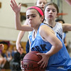 York's #9 Madison McMahon gets a rebound with Hampton covering during the 25th Annual Charlie Brown Memorial Basketball Classic between York and Hampton Attack Girls 3/4 Grade teams on Sunday 3-1-2015 @ York Middle School, York ME, 8:30AM Start.  Matt Parker Photos.