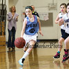 York's #4 Ava Brent gets ahead of Hampton's #45 Rio Franzoso as she dribbles up the court during the 25th Annual Charlie Brown Memorial Basketball Classic between York and Hampton Attack Girls 3/4 Grade teams on Sunday 3-1-2015 @ York Middle School, York ME, 8:30AM Start.  Matt Parker Photos.