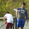 Winnacunnet's Nick Minichello adjusts the score card with Alvirne's Jared Whalen in the Boys #2 Seed Singles DIV I Tennis match on Monday between Winnacunnet and Alvirne High Schools on 5-18-2015 @ WHS.  Matt Parker Photos