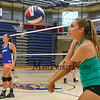 Winnacunnet Senior Paige Duffy concentrates as she bumps the ball back to her partner during a drill at Thursday's Girls Varsity Volleyball preseason practice on 8-20-2015 @ WHS.  Matt Parker Photos