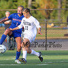 Winnacunnet's #1 Alisyn McNamara tries to control the ball with Exeter's #11 Avery Bleakley during Friday's Div I Girls Soccer game between Winnacunnet and Exeter High Schools on 9-25-2015 @ EHS.  Matt Parker Photos