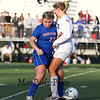 Winnacunnet's #23 Hannah Markowitz takes the ball away from  Exeter's #15 Lydia Peucker during Friday's Div I Girls Soccer game between Winnacunnet and Exeter High Schools on 9-25-2015 @ EHS.  Matt Parker Photos