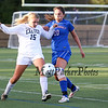 Winnacunnet's #20 Katie Valcich and Exeter's #15 Lydia Peucker fight for the ball during Friday's Div I Girls Soccer game between Winnacunnet and Exeter High Schools on 9-25-2015 @ EHS.  Matt Parker Photos