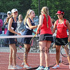 Exeter's Melissa Wood and Kate Lietz shake hands with Bedford's Abby Ramsay and Anli Zhang after Bedford's win in the #1 Doubles Match at Wednesday's NHIAA DIV I Girls Tennis Championships at Pinkerton Academy on 6-1-2016.  Matt Parker Photos