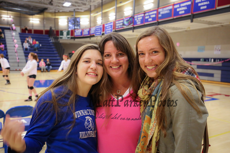The Beautiful Ladies of the Bonefant's at the Dig Pink Cancer Awareness Night with the Winnacunnet Warriors Girls Varsity Volleyball vs The Broncos of Alvirne High School on Friday 10-14-2016 @ WHS.  Matt Parker Photos