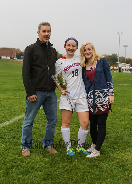 Winnacunnet Senior Morgan Hobson and Family at Senior Night at the Winnacunnet Girls Soccer game vs the Cardinals of Bishop Guertin High School on Friday 10-21-2016 @ WHS.  Matt Parker Photos