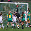 Winnacunnet's Goal Keeper Emily Parks jumps to deflect a shot by BG during Friday's NHIAA DIV I Girls Soccer Game between Winnacunnet and Bishop Guertin High Schools on 10-21-2016 @ WHS.  Matt Parker Photos