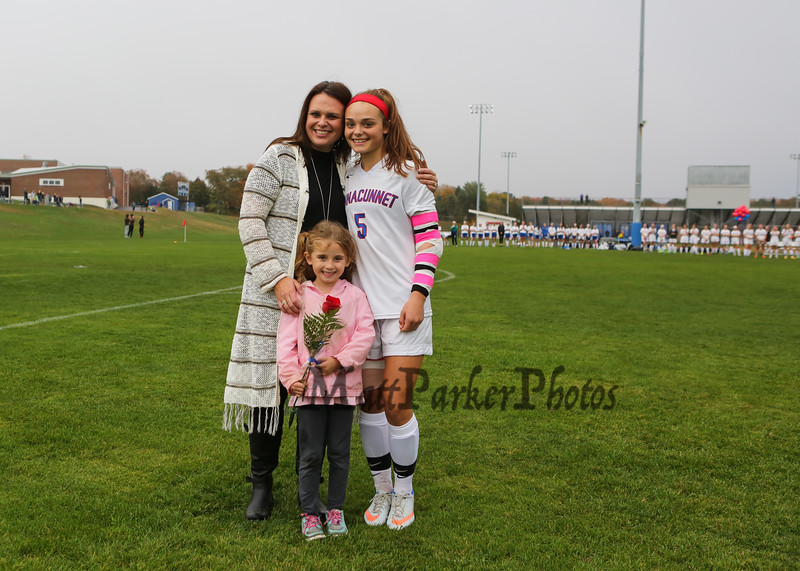 Winnacunnet Senior Meg Dzialo and Family at Senior Night at the Winnacunnet Girls Soccer game vs the Cardinals of Bishop Guertin High School on Friday 10-21-2016 @ WHS.  Matt Parker Photos