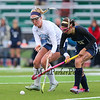 York's #17 Emlyn Patry and Yarmouth's #8 Abby McDowell work to control a loose ball  during Wednesday's Maine principals' Association Class B Southern Maine Regional Field Hockey Finals between York and Yarmouth High School on 10-26-2016 @ Massabesic HS, Waterboro, ME.  Matt Parker Photos