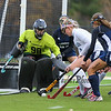 York's #7 Sydney Bouchard gets a shot off on Yarmouth Goal Keeper #98 Cate Ralph with Ralph making the save and Yarmouth's #2 Tessa Houston and #22 Taylor Robinson defending during Wednesday's Maine principals' Association Class B Southern Maine Regional Field Hockey Finals between York and Yarmouth High School on 10-26-2016 @ Massabesic HS, Waterboro, ME.  Matt Parker Photos