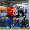 York's Goal Keeper #96  Julianna Kiklis and #11 Caroline Leal defend against Yarmouth's #9 Ally MacLeod during Wednesday's Maine principals' Association Class B Southern Maine Regional Field Hockey Finals between York and Yarmouth High School on 10-26-2016 @ Massabesic HS, Waterboro, ME.  Matt Parker Photos