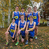 Winnacunnet Boys Cross Country runners ( front L to R) Devin Eaton, Tommy Baker, Noah Taracena, (back) Matthew Fiorentini, Hayden O'Hara,  Jack Taylor and Austin Denis pose for a photo at the NHIAA DIV I Cross Country Championships on Saturday 10-29-2016 @ Derryfield Park, Manchester, NH.  Matt Parker Photos