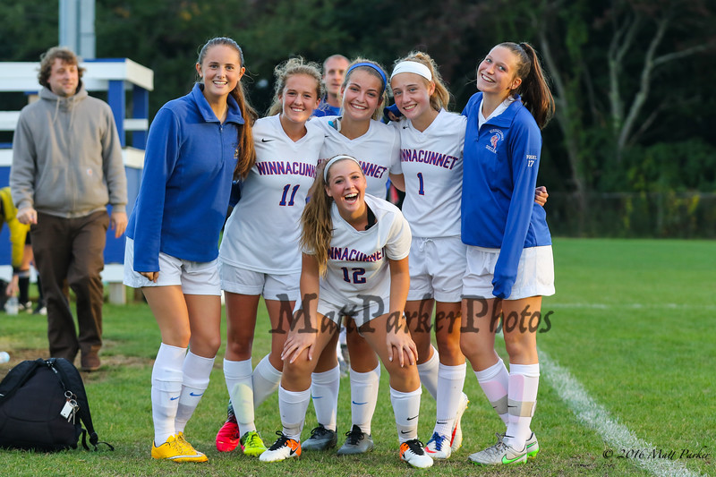 The Warriors Girls Soccer team celebrates with some big smiles after Monday's win over the Titans of Nashua South on 10-3-2016 @ WHS.  WHS-5, NNHS-0.  Matt Parker Photos