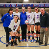 Winnacunnet Seniors and Coaches (L to R) Margaret Allen, #16 Sophia Stefanov, #17 Maddie Allen, Head Coach Lorie Garand, #15 Lily Martin, #12 Stephanie Rheume and George Sullivan pose for a photo at Wednesday's NHIAA DIV I Girls Volleyball game between Winnacunnet and Nashua North High Schools on 10-5-2016 @ WHS.  Matt Parker Photos