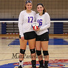 Winnacunnet Seniors #17 Maddie Allen and #16 Sophia Stefanov pose for a photo at Wednesday's NHIAA DIV I Girls Volleyball game between Winnacunnet and Nashua North High Schools on 10-5-2016 @ WHS.  Matt Parker Photos