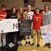 Huskies Freshman #14 Shannon Todd of York Maine poses for a photos with her friends that came to watch and cheer her on in the Huskies Home Opener at Friday's Women's DIV I game Between Northeastern University and Boston University on 11-11-2016 @ The Cabot Center, NU.  Matt Parker Photos