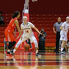 Huskies Freshman #14 Shannon Todd of York Maine guards Terriers #4 Payton Hauck during Friday's Women's DIV I game Between Northeastern University and Boston University on 11-11-2016 @ The Cabot Center, NU.  Matt Parker Photos