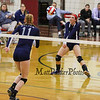 Exeter's #12 Sophia Scola gets position on the ball off a Cavaliers serve with #11 Hannah Hoffmaster covering during Wednesday's NHIAA DIV I Semifinal game between Exeter and Hollis Brookline High Schools @ Pinkerton Academy, Derry, NH on 11-2-2016.  Matt Parker Photos