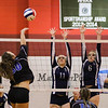Exeter's #11 Hannah Hoffmaster and #6 Caleigh Bousquin jump to block a spike by Cavaliers #50 Katie Connors during Wednesday's NHIAA DIV I Semifinal game between Exeter and Hollis Brookline High Schools @ Pinkerton Academy, Derry, NH on 11-2-2016.  Matt Parker Photos