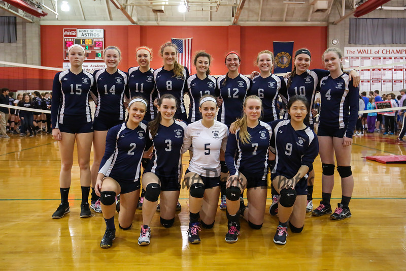 The Exeter Blue Hawks Volleyball team poses for a photo after  Wednesday's loss in the NHIAA DIV I Semifinal game between Exeter and Hollis Brookline High Schools @ Pinkerton Academy, Derry, NH on 11-2-2016.  Matt Parker Photos