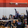 Exeter's #12 Sophia Scola elevates to make a play on a set ball during Wednesday's NHIAA DIV I Semifinal game between Exeter and Hollis Brookline High Schools @ Pinkerton Academy, Derry, NH on 11-2-2016.  Matt Parker Photos