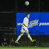 Exeter's #7 Tucker Guen jumps to make a head ball during Saturday's NHIAA DIV I Boys Soccer Championship game between Exeter and Memorial High School on Saturday 11-5-2016 @ SNHU.  EHS-5, MHS-0.  Matt Parker Photos