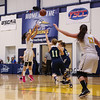 Great Bay's #3 Nichole Marrero takes a jump shot from the top of the key with UMA's #11 Hunter Chesley and #5 Halee Flewelling defending during Tuesday's YSCC-USCAA Woman's Basketball game between Great Bay Community College and University of Maine Agusta on 11-8-2016 @ GBCC.  Matt Parker Photos