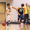 Great Bay's #15 Conner Bradway runs the ball up the court with UMA's #20 Dustin Simpson-Bragg trailing and GBCC's Coach Sean Young lookin on during Tuesday's YSCC-USCAA Men's Basketball game between Great Bay Community College and University of Maine Agusta on 11-8-2016 @ GBCC.  Matt Parker Photos