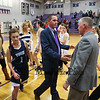 Marshwood Coach Steve Freeman shakes hands with his father York's Coach Steve Freeman after Marshwood's 2 point win over York at Thursday's Class A South Girls Basketball game between Marshwood and York High Schools on 12-15-2016 @ MHS.  Matt Parker Photos