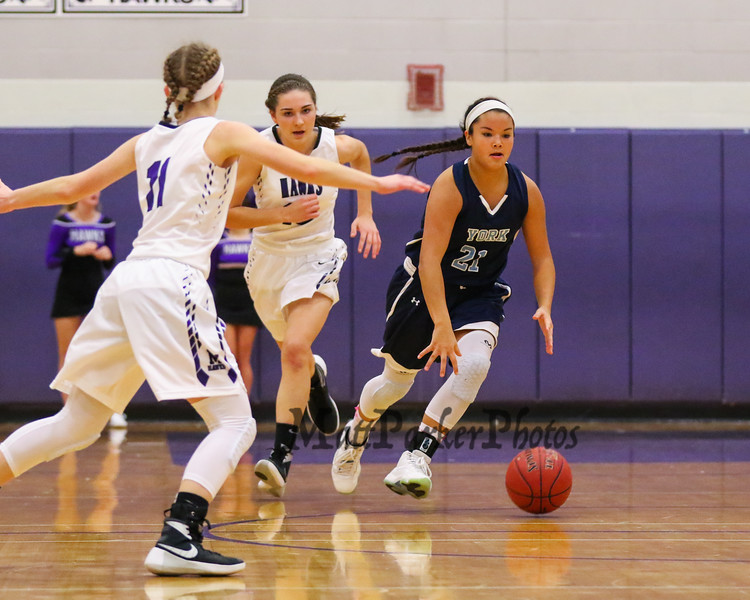 York's #21 Jackie Tabora makes a break up the court during Thursday's Class A South Girls Basketball game between Marshwood and York High Schools on 12-15-2016 @ MHS.  Matt Parker Photos