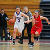 Winnacunnet's #3 Hannah Driscoll hustles the ball up the court with Central Catholics #15 Bridget McCarthy during Wednesday's Girls Basketball Game at the 2016 Commonwealth Christmas Classic Tournament between Winnacunnet and Central Catholic High Schools on 12-28-2016 @ North Andover High School, N. Andover, MA.  Matt Parker Photos