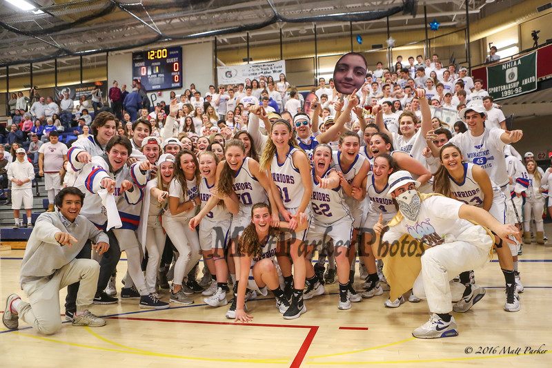 The Winnacunnet Girls Basketball team celebrate their win over Exeter with their fans and in celebration of  #14 Meg Knollmeyer's 1,000th career points at Thursday's NHIAA DIV I Girls Basketball game between Winnacunnet and Exeter High Schools on 2-11-2016 @ WHS.  Matt Parker Photos