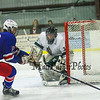 Winnacunnet's #16 Brian Auffant gets the puck by the Kingswood net as Kingswood's Goalie #30 Alex McKenna defends the post during Wednesday Night's NHIAA Div II Boys Hockey game between Winnacunnet and Kingswood High School @ Pop Whalen Ice Arena, Wolfeboro, NH on 2-3-2016.  Matt Parker Photos