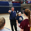 Winnacunnet's Assistant Softball Coach Sandy Dewing gives instructions to the players at Wednesday's practice in the gym on 3-23-2016 @ WHS.  Matt Parker Photos