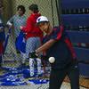 Winnacunnet Junior Kai Nichols lines up the ball in a batting drill at Wednesday's Baseball practice  on Wednesday 3-23-2016 @ WHS.  Matt Parker Photos