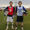 Winnacunnet Warriors Boys Lacrosse Captains (L to R) Brian Auffant and Mike Lewis looking forward to a strong season pose for a photo after Wednesday's practice on 3-23-2016 @ WHS.  Matt Parker Photos