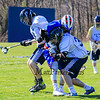 St. Thomas's #31 Tom Buchard knocks the ball from Winnacunnet's #76 Brian Auffant with STA's #14 Matt Savage assisting during Wednesday's NHIAA DIV II Boys Lacrosse game vs Winnacunnet and St. Thomas Aquinas High Schools @ STA on 4-13-2016.  Matt Parker Photos