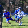 Winnacunnet's #81 Gabe Paster is forced out of bounds by St. Thomas's #8 Nate Norton creating a turnover during Wednesday's NHIAA DIV II Boys Lacrosse game vs Winnacunnet and St. Thomas Aquinas High Schools @ STA on 4-13-2016.  Matt Parker Photos