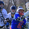 Winnacunnet's #86 Mike Boozianis recovers a loose ball with STA players defending during Wednesday's NHIAA DIV II Boys Lacrosse game vs Winnacunnet and St. Thomas Aquinas High Schools @ STA on 4-13-2016.  Matt Parker Photos