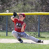 Minors 1st baseman Logan Lochiatto of the River Cats reaches to get to a thrown ball to 1st base at Hampton's Cal Ripken's Opening Day celebration and games on Saturday 4-16-2016 @ Tuck Field Hampton, NH.  Matt Parker Photos