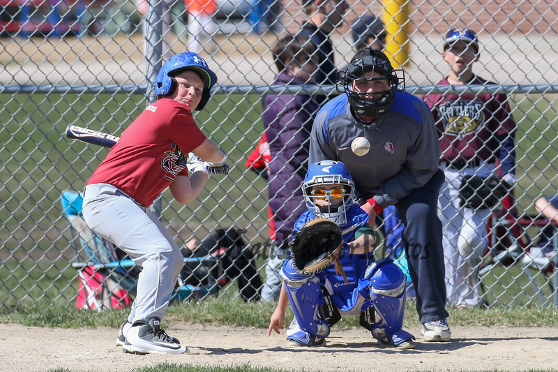 Minors batter Logan Lochiatto of the River Cats gets ready to swing his bat on the ball at Hampton's Cal Ripken's Opening Day celebration and games on Saturday 4-16-2016 @ Tuck Field Hampton, NH.  Matt Parker Photos