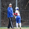 Winnacunnet's #1 Bailey Faulkingham gets congratulated by her Coach Sandy Dewing after getting a hit during Monday's NHIAA DIV I Girls Softball game between Winnacunnet and Merrimack High Schools on 4-18-2016.  Matt Parker Photos