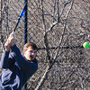 Winnacunnet's Dylan Taylor returns the ball at Tuesday's practice in place of their first scheduled away meet at Londonderry which was cancelled due to a Monday snow storm that blanketed New Hampshire 4-5-2016 @ WHS.  Matt Parker Photos
