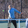 Winnacunnet Senior Patrick Witt gets in some net play with Freshman Zack Rummler at Tuesday's practice in place of their first scheduled away meet at Londonderry which was cancelled due to a Monday snow storm that blanketed New Hampshire 4-5-2016 @ WHS.  Matt Parker Photos